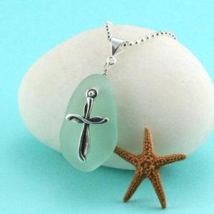 Splendid Sea Foam Pendant with Cross Charm