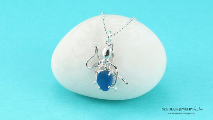 Turquoise Sea Glass Octopus Pendant