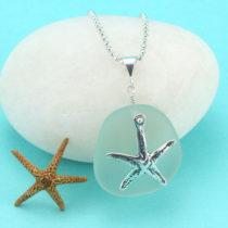 Sea Foam Sea Glass Starfish Charm Pendant