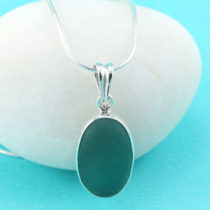 Small Deep Aqua Sea Glass Pendant