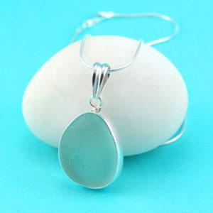 Oval Sea Foam Sea Glass Pendant