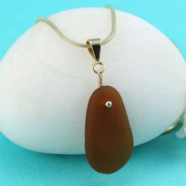 Golden Amber Sea Glass Pendant