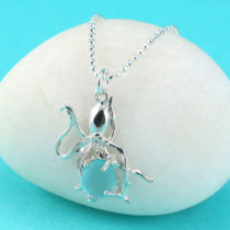 Aqua Sea Glass Octopus Pendant