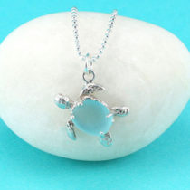 Aqua Sea Glass Turtle Pendant