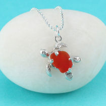 Bright Red Sea Glass Turtle Pendant