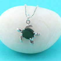Teal Green Sea Glass Turtle Pendant
