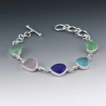 Colorful Sea Glass Bezel Set Bracelet