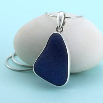 Large Pretty Blue Sea Glass Pendant