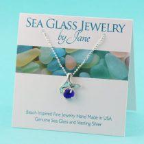 Cobalt Blue Sea Glass Mermaid Pendant