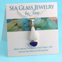 Opaque White and Cobalt Blue Sea Glass Sailboat Pendant