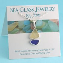 Cobalt Blue and Yellow Sea Glass Sailboat Pendant