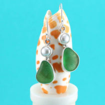 Green sea glass earrings with pearls