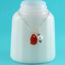 Cherry Red Sea Glass Mermaid's Tear Pendant
