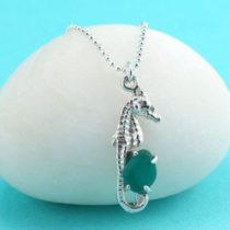 Rare Teal Aqua Sea Glass Seahorse Pendant