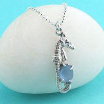 Cornflower Blue Sea Glass Seahorse Pendant