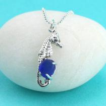 Cobalt Blue Sea Glass Seahorse Pendant