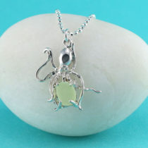Rare UV Yellow Sea Glass Octopus Pendant