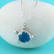 Rare Turquoise Sea Glass Sea Turtle Pendant