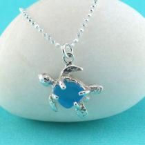 Turquoise Sea Glass Sea Turtle Pendant