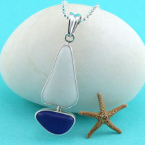 Cobalt Blue & White Sea Glass Sailboat