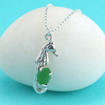 Green Sea Glass Seahorse Pendant