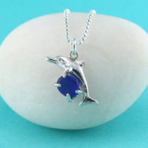 Cobalt Blue Sea Glass Dolphin Pendant