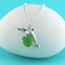 Green Sea Glass Dolphin Pendant