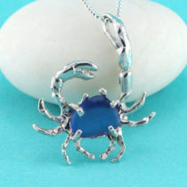 Large Blue Sea Glass Crab Pendant