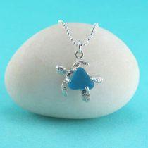 Turquoise Sea Glass Sea Turtle Pendant/Necklace
