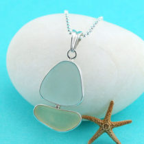 Light Blue & Yellow Sea Glass Sailboat Pendant