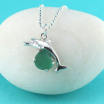 Teal Sea Glass Dolphin Pendant