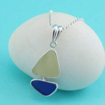 Cobalt Blue & Yellow Sea Glass Sailboat Pendant