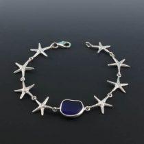 Cobalt Blue Sea Glass Starfish Bracelet