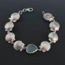 Sea Foam Sea Glass Scallop Shell Bracelet