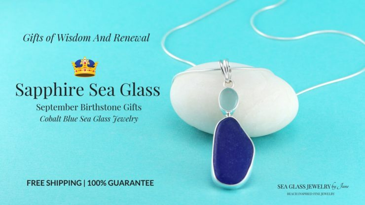Cobalt Blue/Aqua Sea Glass Pendant