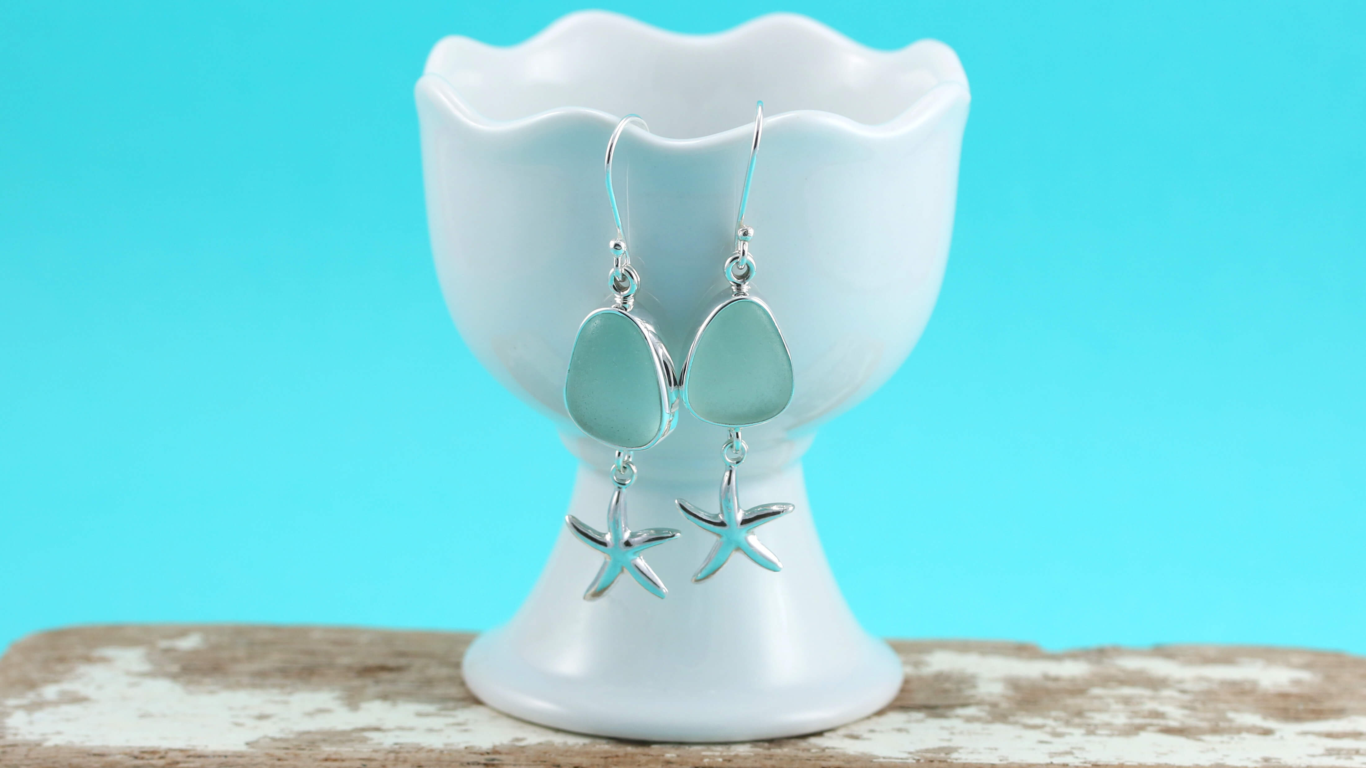 Cute Soft Green Sea Glass Earrings With Starfish Dangles