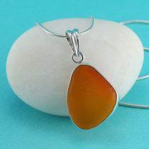 Rare Orange Sea Glass Bezel Set Pendant