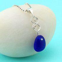 Deep Blue Sea Glass Pendant/Necklace