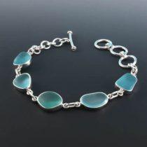 Dramatic Aqua Sea Glass Bezel Set Bracelet