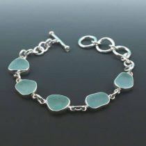 Amazing Aqua Sea Glass Bezel Set Bracelet