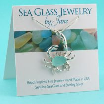 Large Aqua Blue Sea Glass Crab Pendant