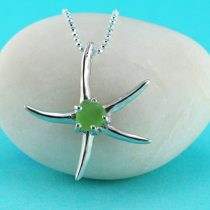 Starfish Pendant with Lime Green Sea Glass