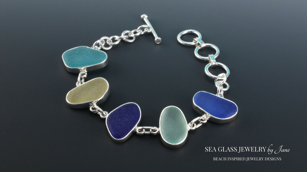 Queen of Sea Glass Bezel Set Bracelet Five Glorious Colors One Only