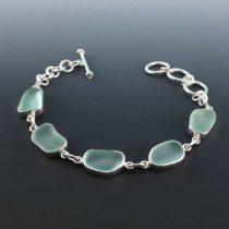 Splendid Sea Foam Sea Glass Bezel Set Bracelet