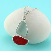 Cherry Red and Aqua Sea Glass Sailboat Pendant