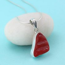Rare Red Sea Glass Patterned Pendant