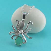 Large Ocean Green Sea Glass Octopus Pendant