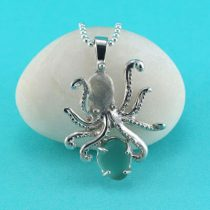 Large Aqua Green Sea Glass Octopus Pendant