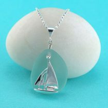 Aqua Sea Glass Pendant Sailboat Charm