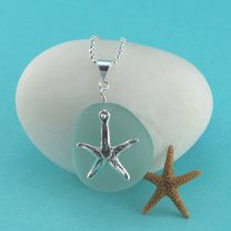 Aqua Sea Glass Pendant with Starfish Charm